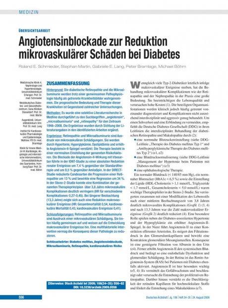 Angiotensinblockade zur Reduktion mikrovaskulärer...