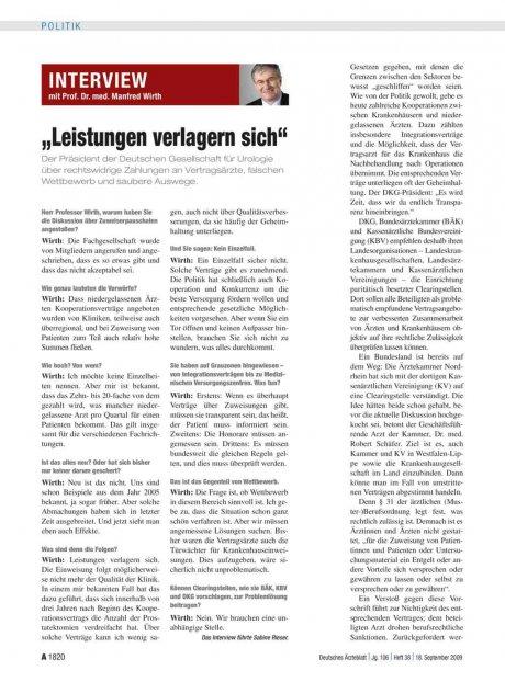 Interview mit Prof. Dr. med. Manfred Wirth