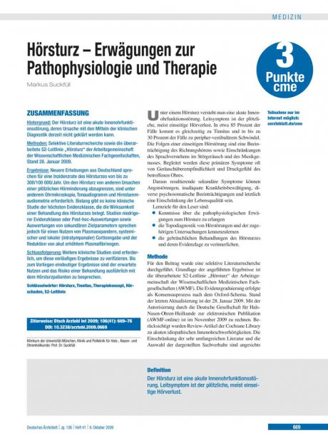 Hörsturz – Erwägungen zur Pathophysiologie und...
