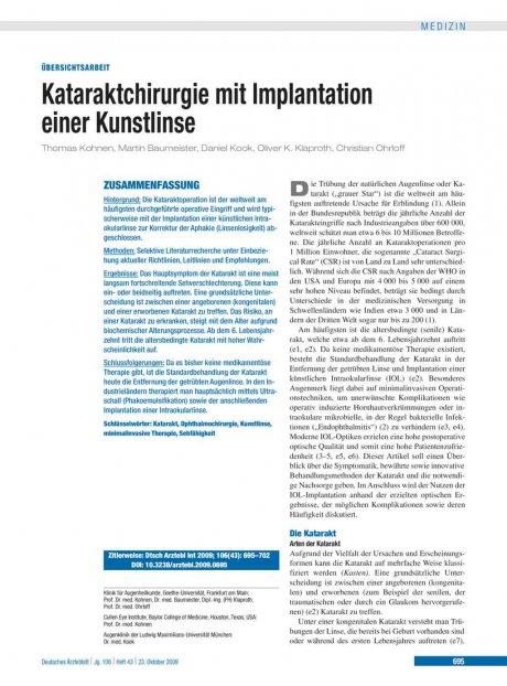 Kataraktchirurgie mit Implantation einer...