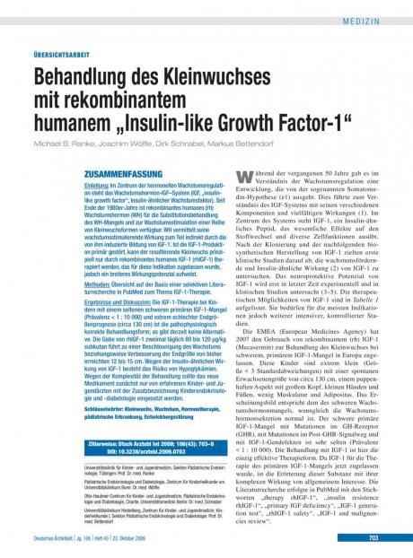 Behandlung des Kleinwuchses mit rekombinantem...