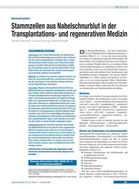 Stammzellen aus Nabelschnurblut in der Transplantations- und regenerativen Medizin
