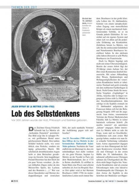 Julien Offray de La Mettrie (1709–1752): Lob des Selbstdenkens