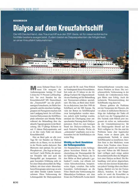 Reisemedizin: Dialyse auf dem Kreuzfahrtschiff