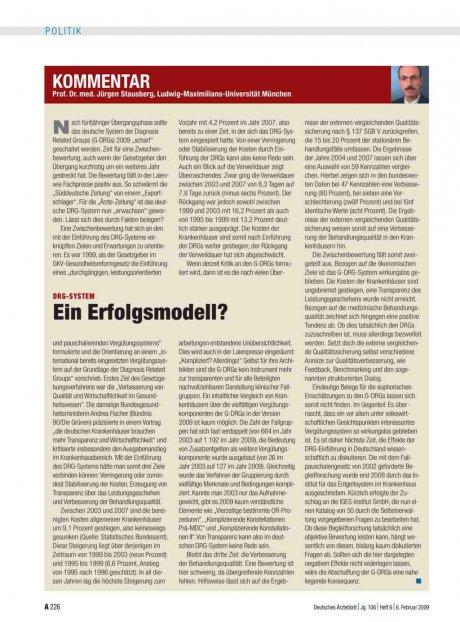 DRG-System: Ein Erfolgsmodell?