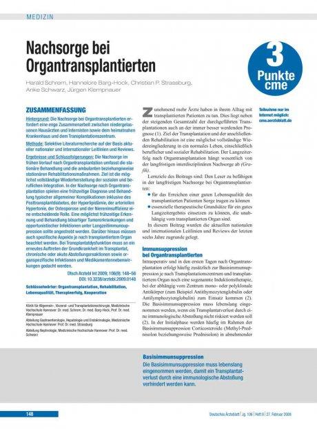 Nachsorge bei Organtransplantierten