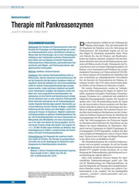 Therapie mit Pankreasenzymen