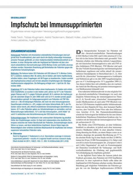 Impfschutz bei Immunsupprimierten