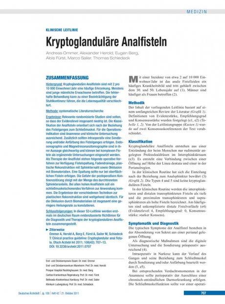 Kryptoglanduläre Analfisteln