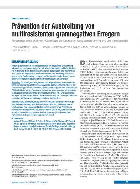 Prävention der Ausbreitung von multiresistenten...