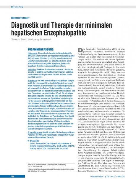 Diagnostik und Therapie der minimalen hepatischen...