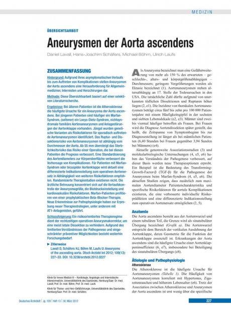 Aneurysmen der Aorta ascendens