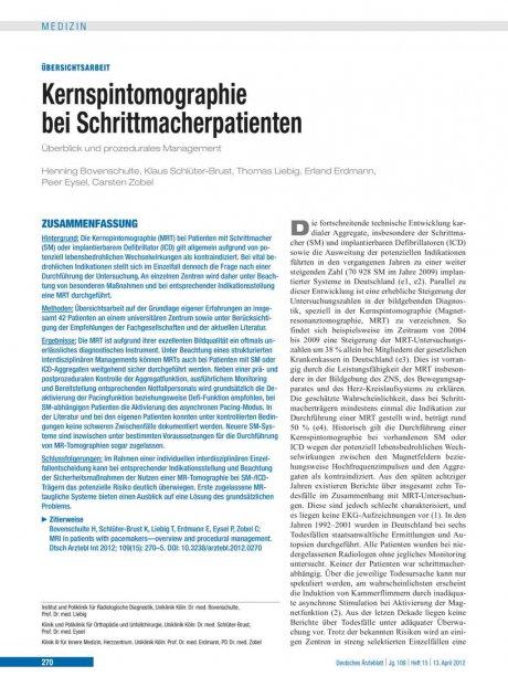 Kernspintomographie bei Schrittmacherpatienten