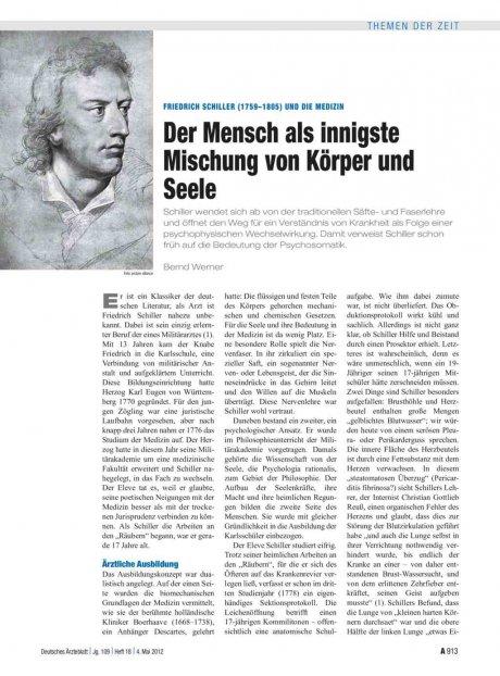 Friedrich Schiller (1759–1805) und die Medizin