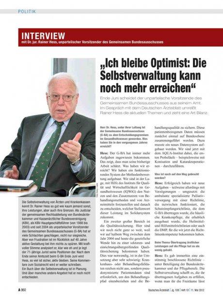 Interview mit Dr. jur. Rainer Hess, unparteiischer...
