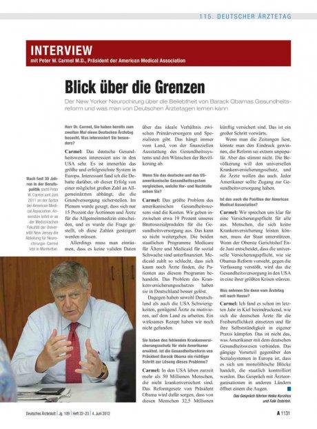 Interview mit Peter W. Carmel M.D., Präsident der...