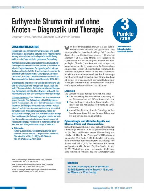 Euthyreote Struma mit und ohne Knoten – Diagnostik...