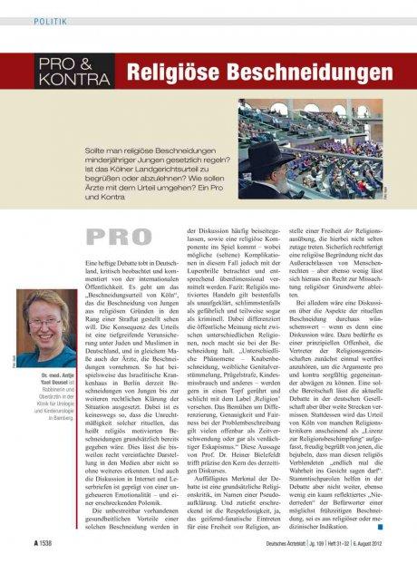 Pro & Kontra: Religiöse Beschneidungen
