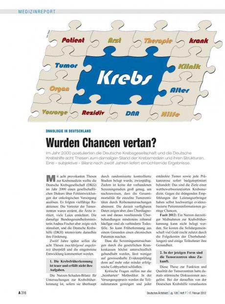 Onkologie in Deutschland: Wurden Chancen vertan?