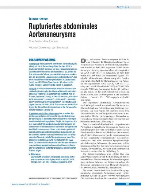 Rupturiertes abdominales Aortenaneurysma