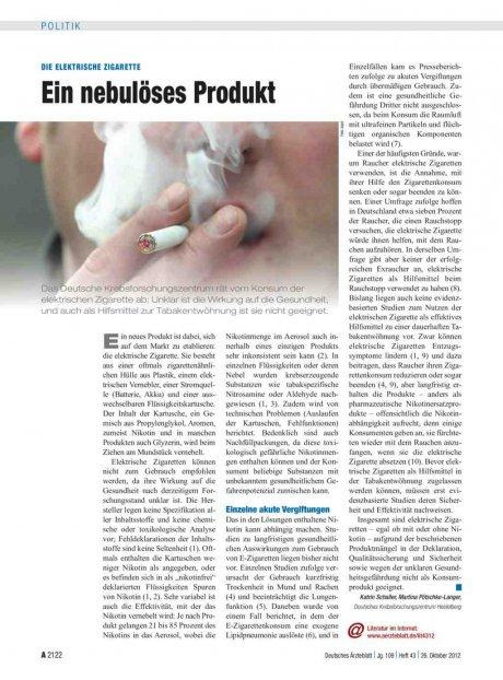 Die elektrische Zigarette: Ein nebulöses Produkt