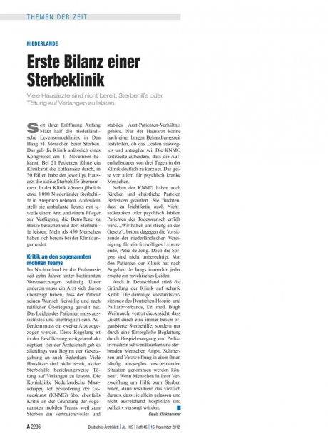 Niederlande: Erste Bilanz einer Sterbeklinik
