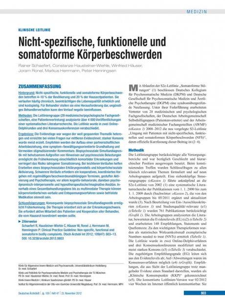 Nicht-spezifische, funktionelle und somatoforme...