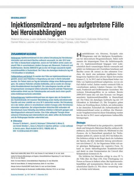 Injektionsmilzbrand – neu aufgetretene Fälle bei...