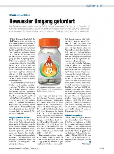 Vitamin-D-Substitution: Bewusster Umgang gefordert