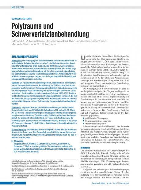 Polytrauma und Schwerverletztenbehandlung