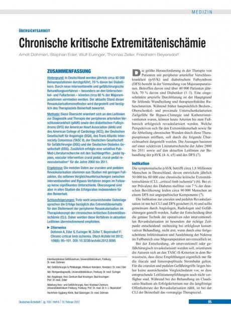 Chronische kritische Extremitätenischämie