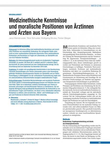 Medizinethische Kenntnisse und moralische...
