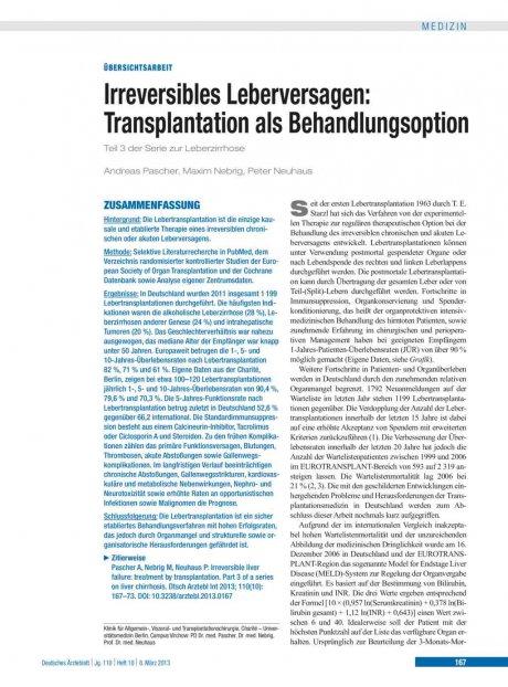 Irreversibles Leberversagen – Transplantation als...