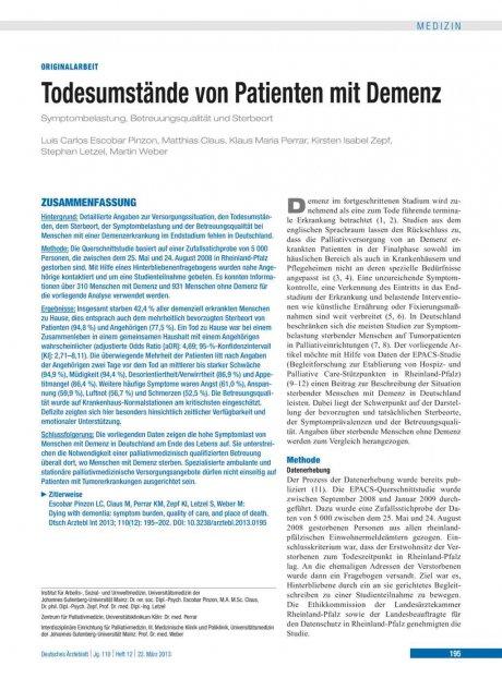 Todesumstände von Patienten mit Demenz