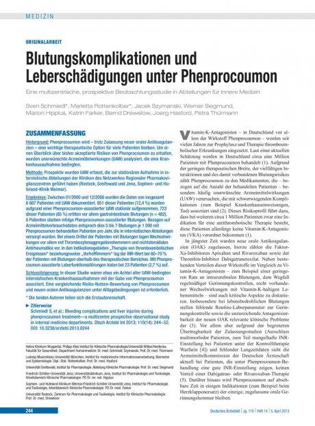 Blutungskomplikationen und Leberschädigungen unter...