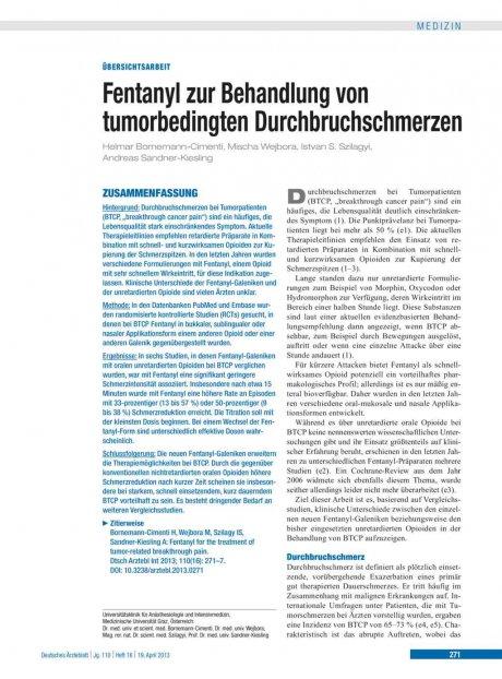 Fentanyl zur Behandlung von tumorbedingten...