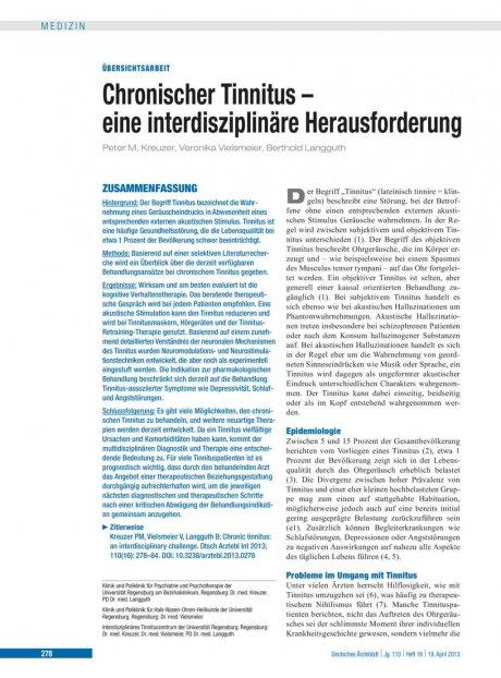 Chronischer Tinnitus – eine interdisziplinäre...