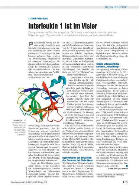 Zytokinforschung: Interleukin 1 ist im Visier