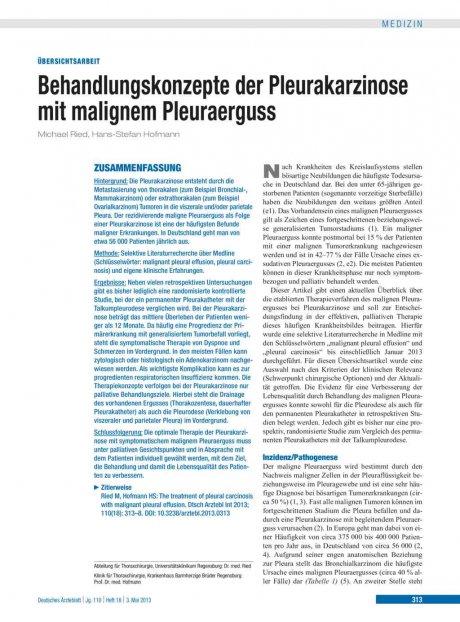 Behandlungskonzepte der Pleurakarzinose mit...