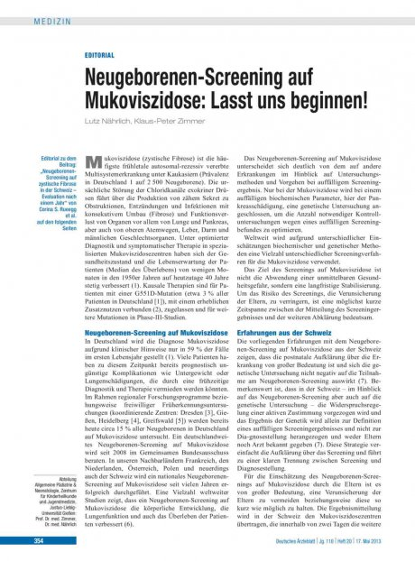 Neugeborenen-Screening auf Mukoviszidose