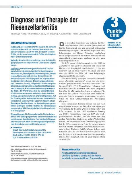 Diagnose und Therapie der Riesenzellarteriitis