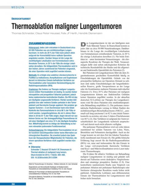 Thermoablation maligner Lungentumoren
