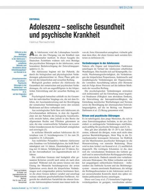Adoleszenz – seelische Gesundheit und psychische...