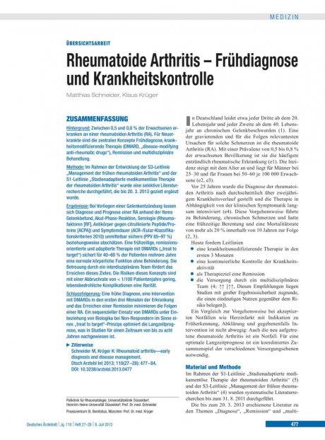 Rheumatoide Arthritis – Frühdiagnose und...