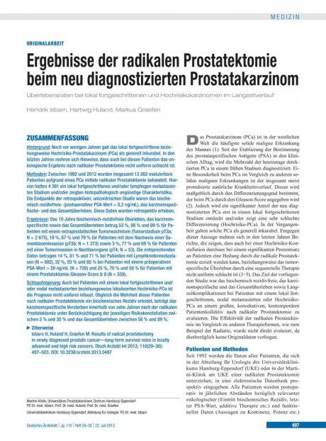 Ergebnisse der radikalen Prostatektomie beim neu...