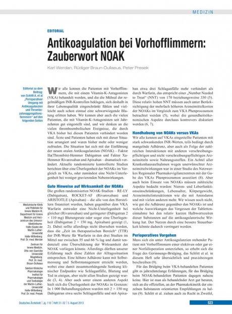 Antikoagulation bei Vorhofflimmern