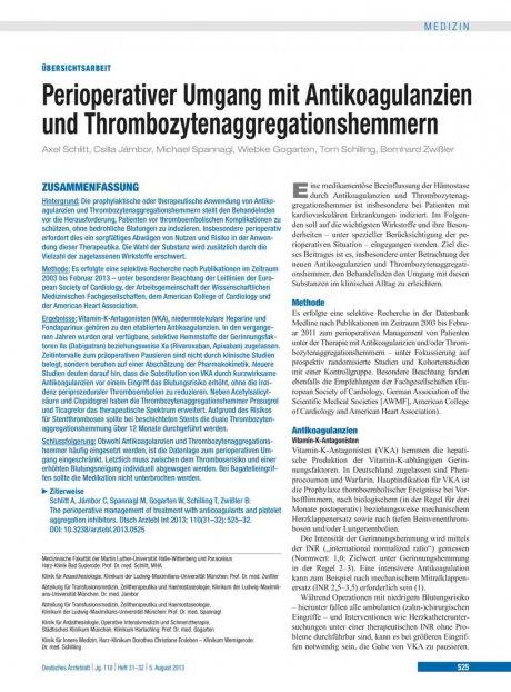 Perioperativer Umgang mit Antikoagulanzien und...