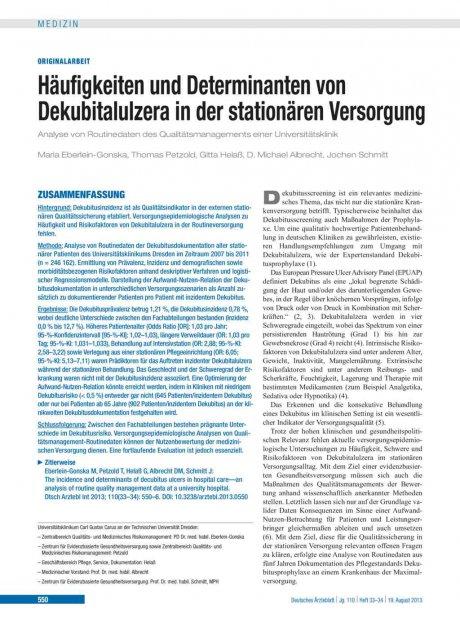 Häufigkeiten und Determinanten von Dekubitalulzera...