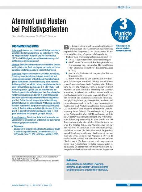 Atemnot und Husten bei Palliativpatienten