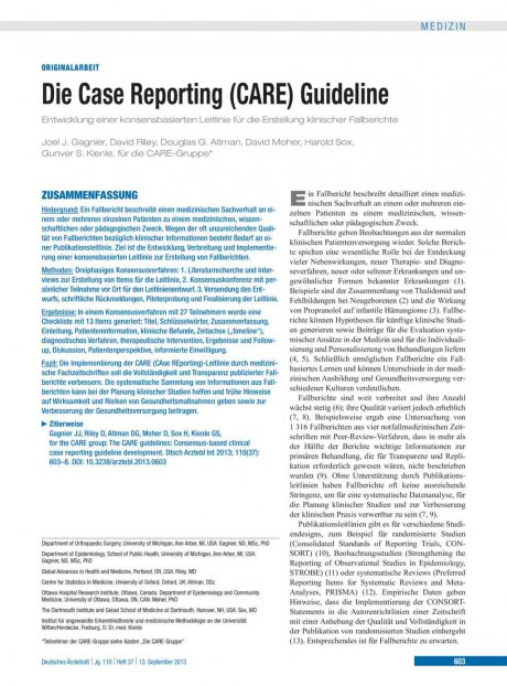 Die Case Reporting (CARE) Guideline